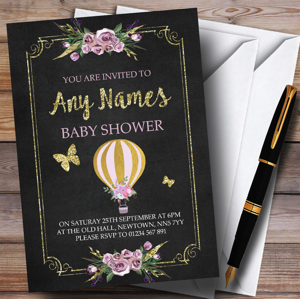 Chalk & Gold Floral Hot Air Balloon Invitations Baby Shower Invitations