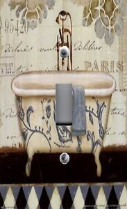 Light Switch Plate Outlet Covers Bathroom Decor French Bath Tub Wash Room Ebay