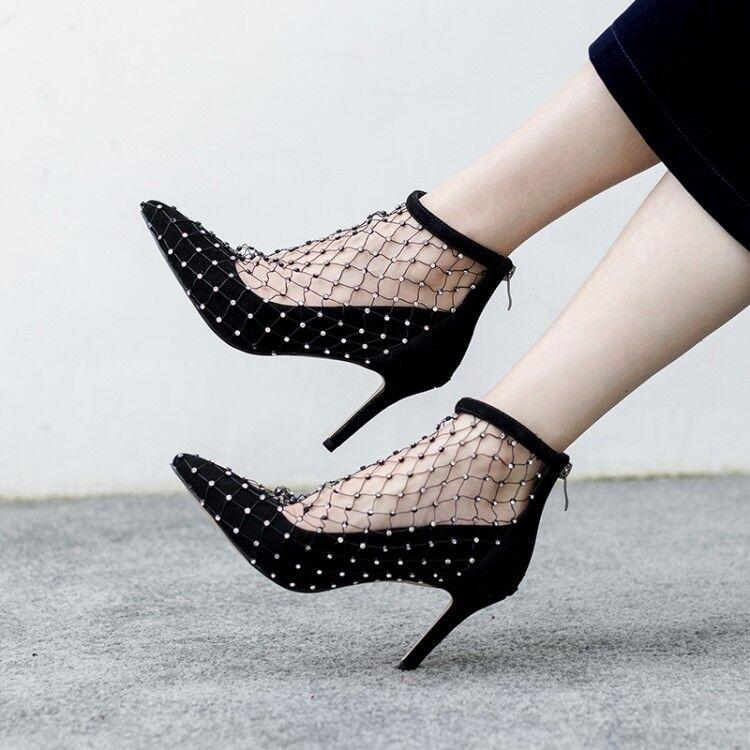 Women Mesh Rivet  Rhinestones Ankle Ankle Ankle shoes Stilettos High Heels Poinyt Toe Y1192 caf871