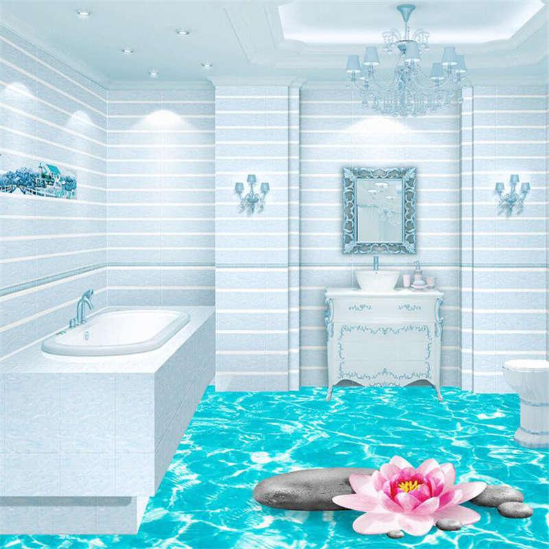 SacROT Lotus Blau Water 3D Floor Mural Photo Flooring Wallpaper Home Wall Decal