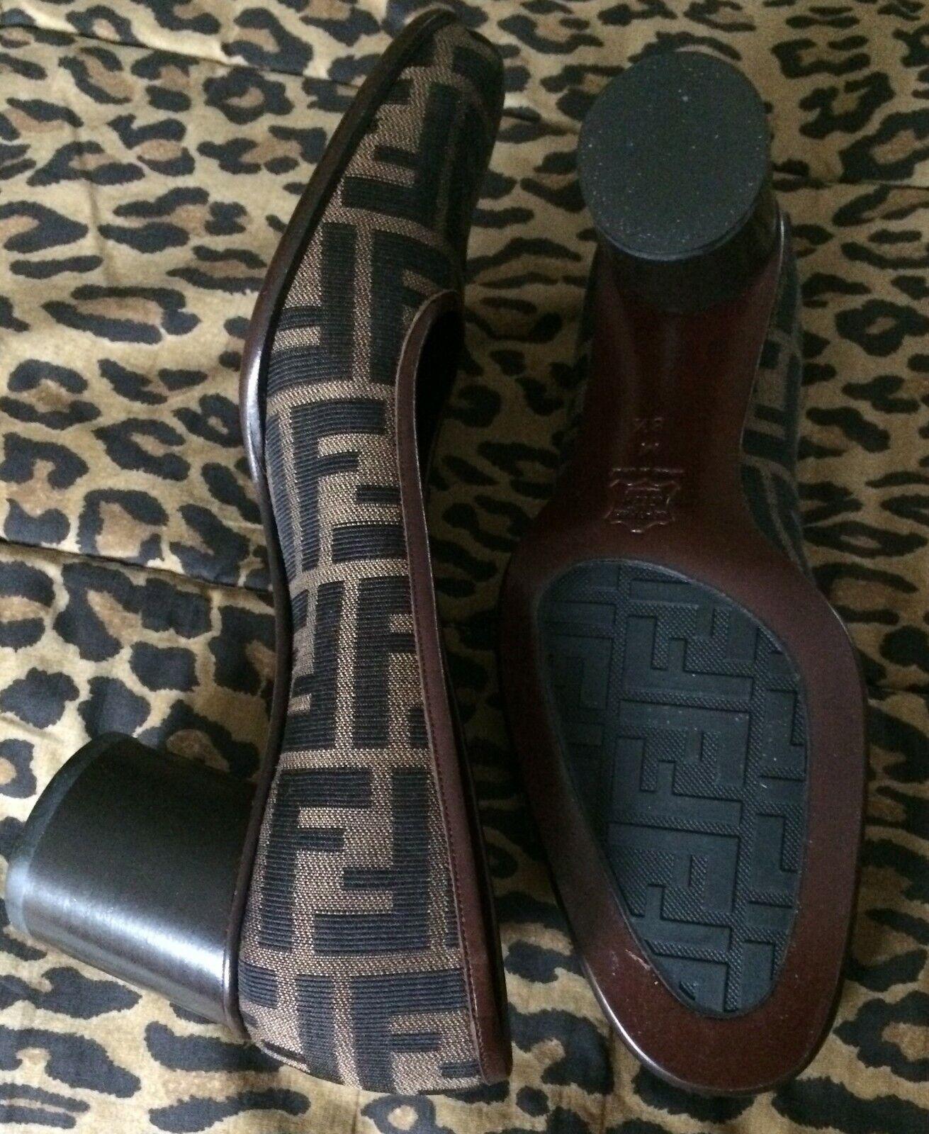 Fendi Womens Monogram Size 8 1 2  FF Logo High Heel shoes