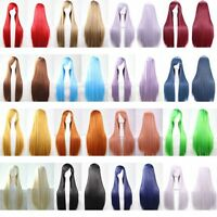 """40"""" Anime Long Straight Heat Resistant Hair Full Wig Lolita Costume Cosplay Wigs"""