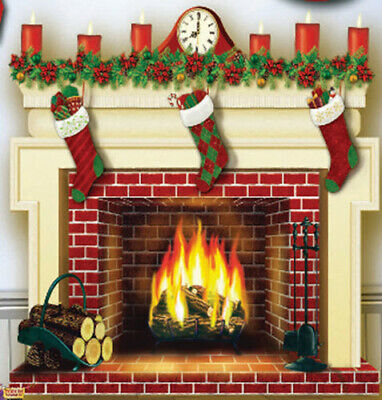 Christmas Fireplace Mantel Scene Setter Holiday Hearth Party Wall Photo Backdrop Ebay
