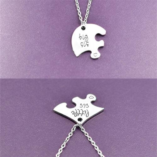 Collier chaud pendentifs coeur brisé Puzzle petite chaîne moyenne grandes soeurs