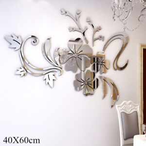 3D-Mirror-Flower-Decal-Wall-Sticker-DIY-Removable-Art-Mural-Home-Room-Decor-gv