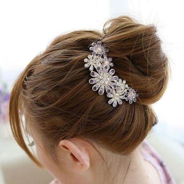 Women Floral Crystal Hair Pin Hair Comb Hair Claw Flower Rhinestone Hair Clip