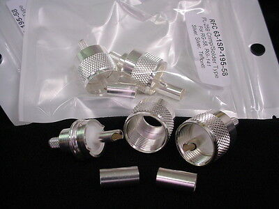 10 Silver Teflon PL-259 Type UHF Double Crimp Type Plugs RG-58  RG-141 LMR-195