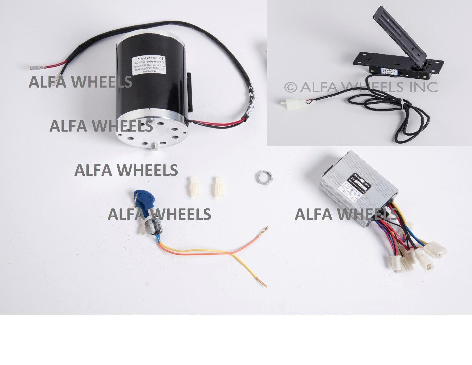 Soporte De Scooter Eléctrico De Motor 1000W 48V + Caja de control Rev cerradura de llave + pie del acelerador