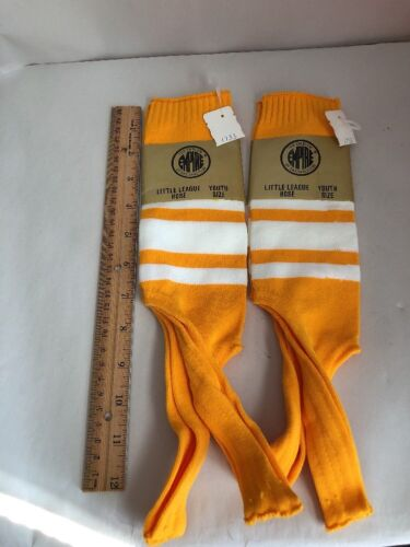 2 Pairs Empire Youth Baseball Stirrups Gold and White Stripe NEW