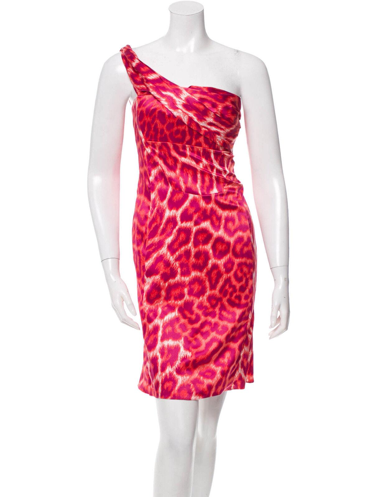 New Womens 2 NWT    Just Cavalli Leopard Print Dress 38 One Shoulder Sexy 5e0524