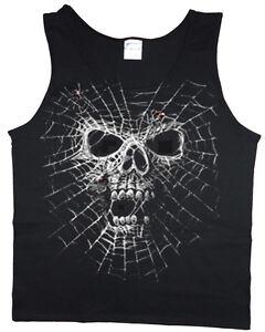 c33c7d47584601 Men s tank top Spider web skull graphic decal design sleeveless tee ...