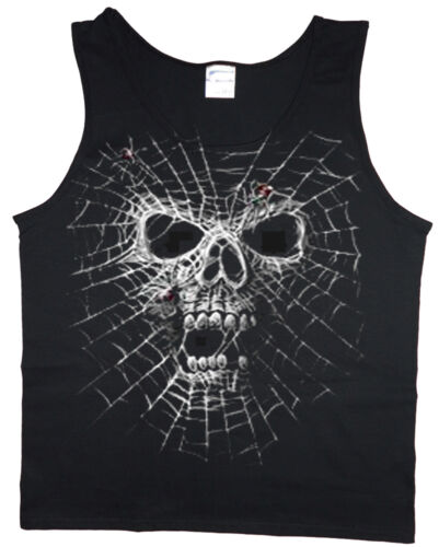 Men/'s tank top Spider web skull graphic decal design sleeveless tee muscle shirt