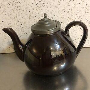 VTG Teapot Single Serve Pewter Lid With Hinge Gunmetal Bronze Glaze Red Ware