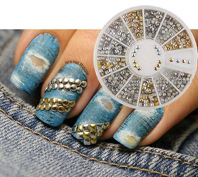 350pcs Nail Art Tips Studs Round Square Mix Rhinestones Decoration 2mm