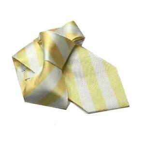 CRAVATTA-seta-a-righe-BIANCA-E-GIALLA-rigato-pari-pari-bianco-e-giallo-M-italy