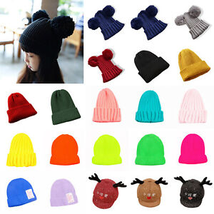 KM/_ Kids Baby Boys Girls /& Mom Hat Set Knitted Winter Warm Hats Beanie Cap Eye