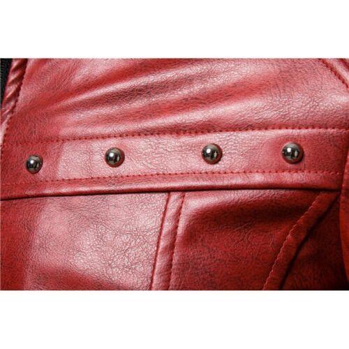 Winter Men/'s Faux Fur Collar Jacket Biker Faux Leather Punk Rivet Motorcycle L