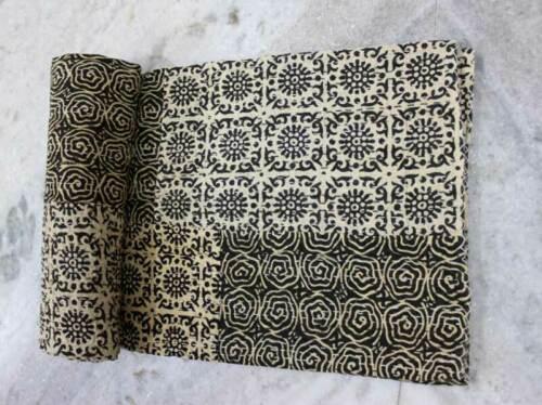Indian Kantha Quilt Twin Bedspread Handmade Blanket Patchwork Ralli Throw Black