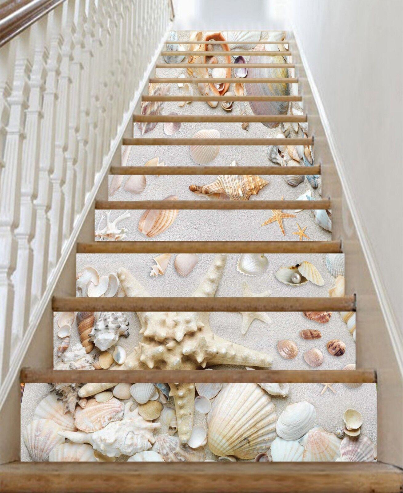 3D Strandschtze 36 Stair Risers Dekoration Fototapete Vinyl Aufkleber Tapete DE