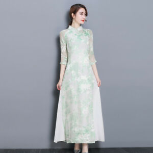 7022ad8db Chinese style Retro Women Slim 3/4 Sleeve Floral Print Qipao ...