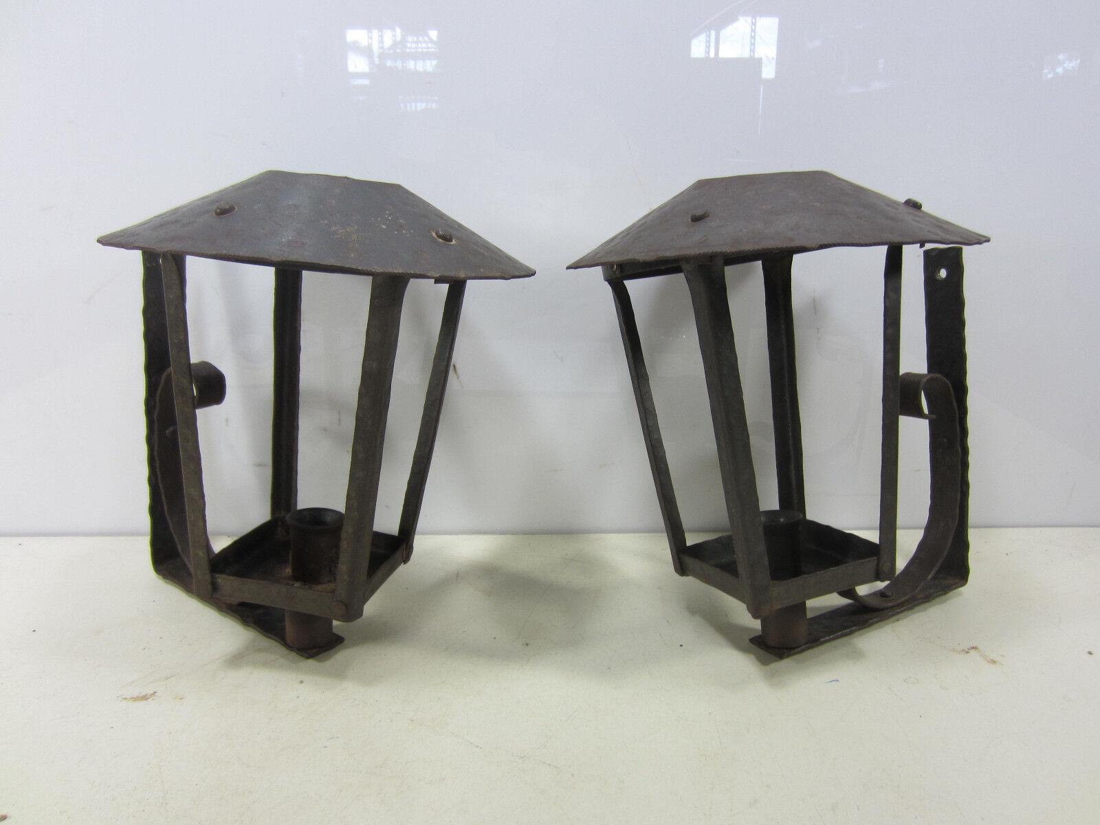 2 Vintage hierro forjado hecho a mano linternas de Parojo al Aire Libre-no eléctricos