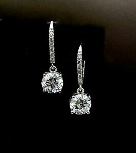 2-80Ct-Round-Cut-Moissanite-Drop-Dangle-Earrings-Leverback-14k-White-Gold-Finish