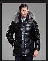 Men Sheep Leather Jacket Coat Fox Fur Collar Outwear DownCoat Warm Clothing NEW