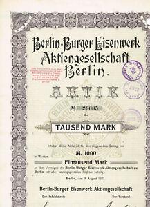 Berlin-Burger-Eisenwerk-AG-Berlin-1921-1000-Mark-gelocht-VF