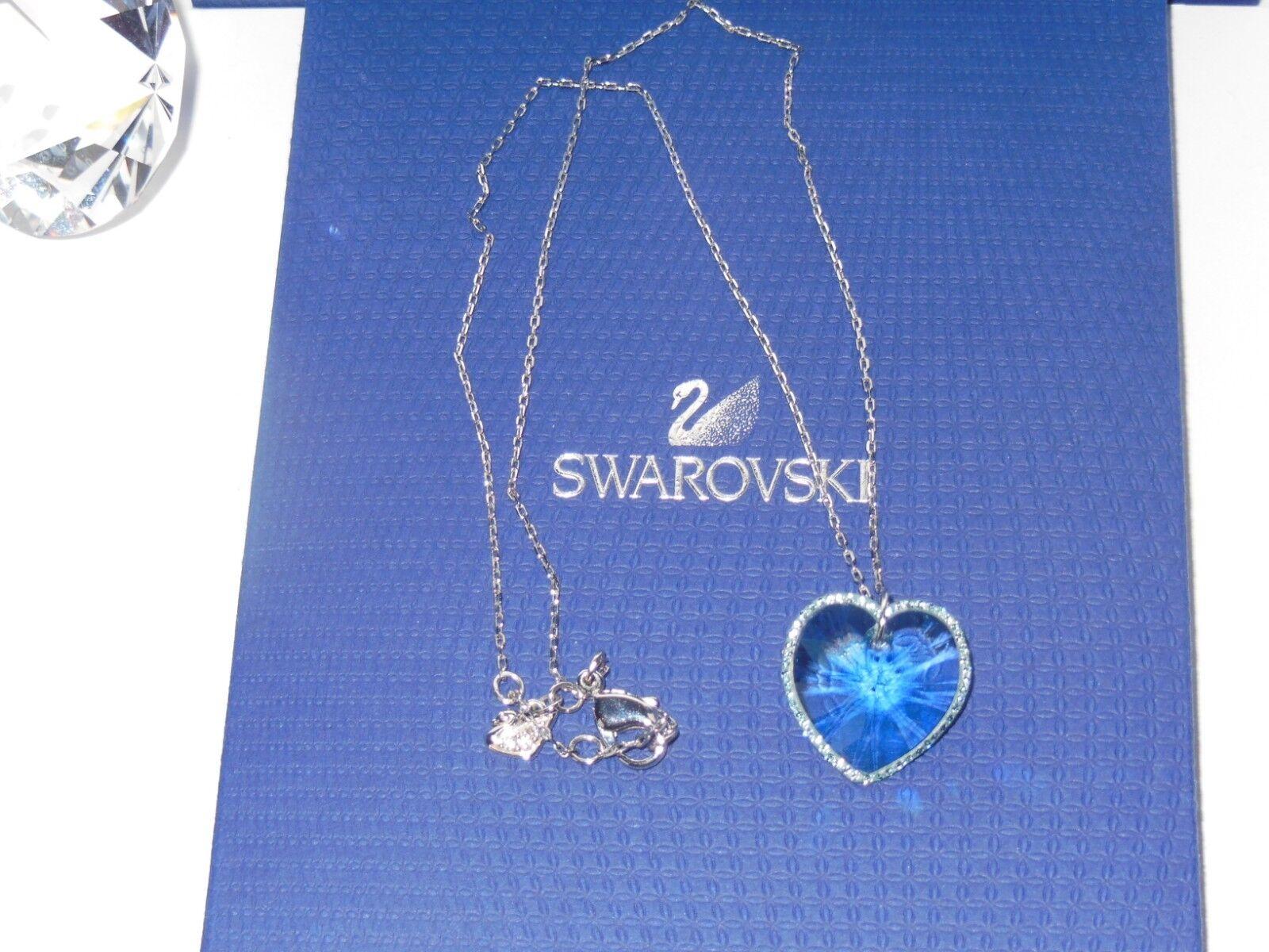 GENUINE Swan Signed SWAROVSKI  Reverie  Aquamarine Crystal Pendant -