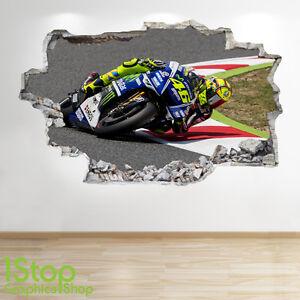 new style 4a22a 68788 Dettagli su Valentino Rossi Adesivo da Parete 3D Look - Ragazzi Cameretta  Bambini Moto