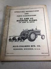 Allis Chalmers Model 62 63 Plow Operators Manual Amp Parts Illustrations Manual