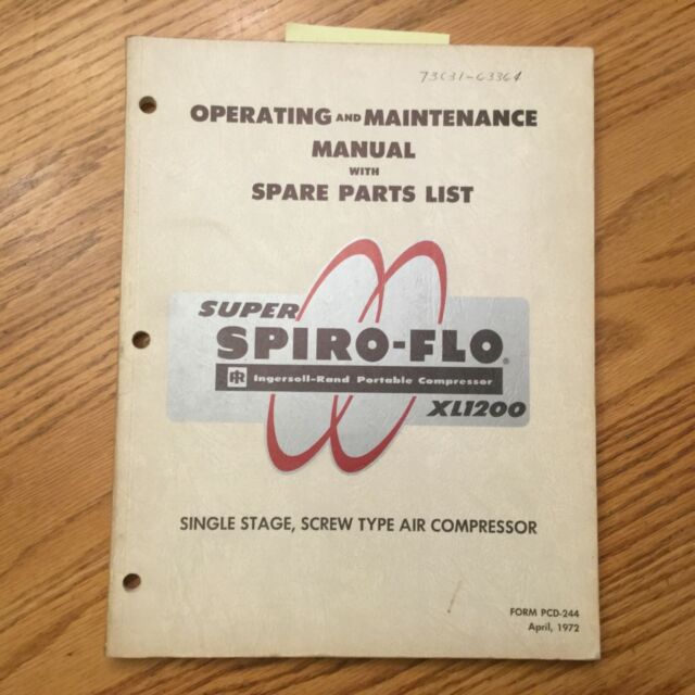 Ingersoll Rand Xl1200 Operating Maintenance Manual Parts Book Air Compressor IR