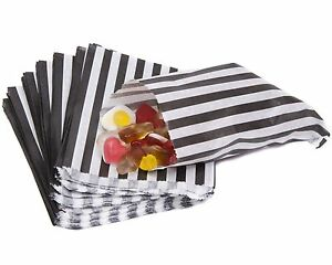 """Candy Stripe Paper Bags Sweet Favour Buffet Gift Shop Party Sweets Cake Wedding Black 5"""" X 7"""" 1 Sample Bag"""