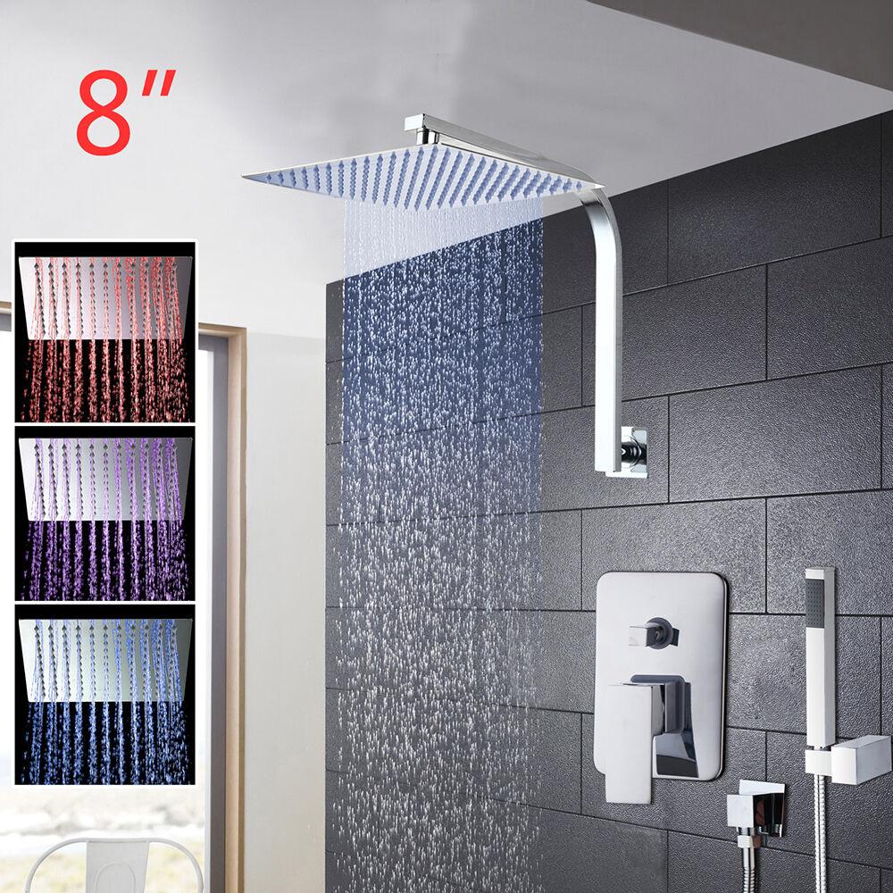 8  LED ultra-sottile quadrato Soffioni Doccia & Rubinetti TENUTA Set PARETE BRACCIO A COLLO D'OCA