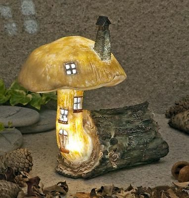 Village Log Fairy House Solar Lights Up At Dusk Fairy Garden Outdoor and Indoor
