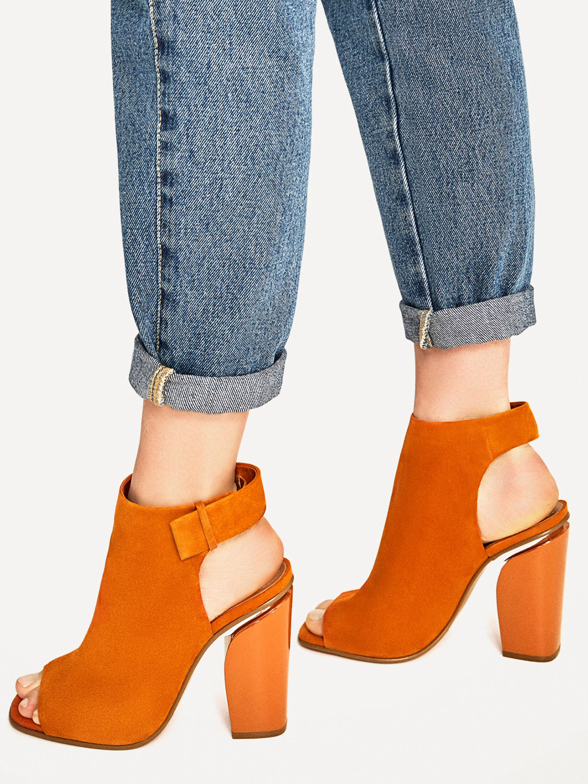 ZARA SS 2017 SLINGBACK LEATHER ANKLE BOOTS ORANGE ALL SIZES REF. 1109/201