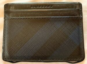 018911aedd6d Burberry Mens Blue Black Plaid PVC Leather ID Credit Cards Cash Case ...