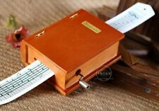 DIY Wood Book Hand Crank Paper Tape Compose Music box + Puncher + 30 Tape Strips