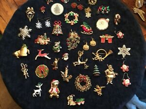 dea027c4a 41 PC HUGE LOT VINTAGE COSTUME ESTATE JEWELRY CHRISTMAS BROOCHES ...