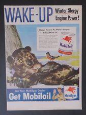 Original Print Ad 1947 MOBILGAS Get Mobiloil Mobil Wake-Up Vintage Art
