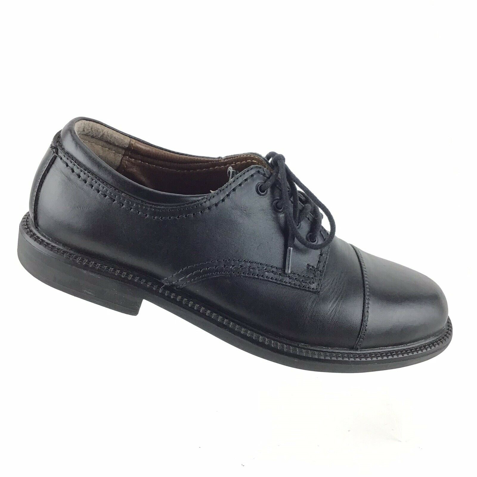 Dockers Cap-Toe Oxfords Black Leather Lace-Up Dress Casual Mens 9 M shoes R5S6
