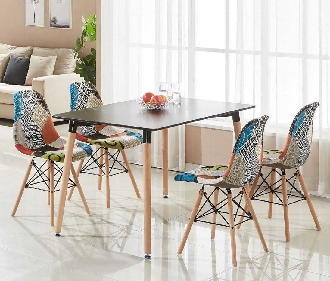 Enjoyable Details About Patchwork Eiffel Halo Dining Set 4 X Fabric Chairs Black Halo Table Modern Pabps2019 Chair Design Images Pabps2019Com