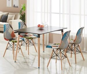 Incredible Details About Patchwork Eiffel Halo Dining Set 4 X Fabric Chairs Black Halo Table Modern Andrewgaddart Wooden Chair Designs For Living Room Andrewgaddartcom