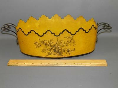 ANTIQUE ITALIAN TOLE HAND PAINTED OVAL PLANTER CENTER PIECE WIRE HANDLES YELLOW