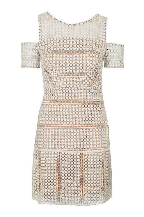 Topshop Circle Lace Cold-Shoulder Dress Größe UK10 EUR38 US6