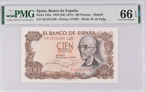 Spain 100 Pesetas 1970 / 1974 P 152 a Gem UNC PMG 66 EPQ