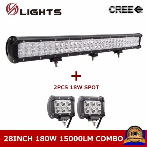 180W 28inch Led Light Bar Combo Beam Off Road Fog Ford Fog+18W Spot Lamp 26//29