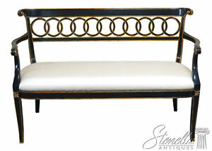 Prime Details About L46325 Maitland Smith 8105 45 Regency Style Black Gold Bench Settee New Gmtry Best Dining Table And Chair Ideas Images Gmtryco