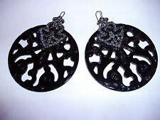 NEW ZARA LARGE BLACK ACRYLIC WITH TINY CRYSTAL DIAMOND EARRINGS