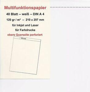 40 Blatt Multifunktions-Papier A 4, Querseite perforiert, 120 gr weiß, - Emmendingen, Deutschland - 40 Blatt Multifunktions-Papier A 4, Querseite perforiert, 120 gr weiß, - Emmendingen, Deutschland